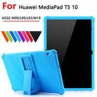 Funda de silicona a prueba de golpes para Huawei MediaPad T5 AGS2-W09/L09/L03/W19, Funda con soporte para tableta de 10,1 pulgadas para huawei mediapad T5 10