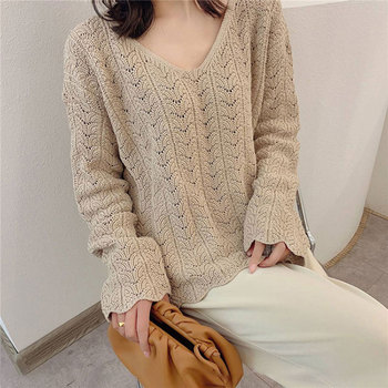 autumn knitted women pullover Hollow out sweater Flare sleeve female sweater V-neck casual ladies jumper New Dx048 double v neck fluted sleeve jumper