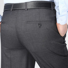Summer Style Mens Silk Suit Business Casual Dress Pants Thin Trousers For Man Classical Anti Wrinkle Pant(China)