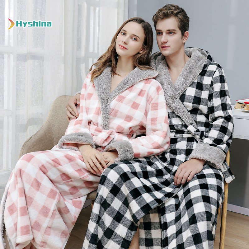 Autumn and Winter Nightdress Printed Plaid Hooded Flannel Color Contrast Lovers' Nightgown Men's Morning Gown Thickened