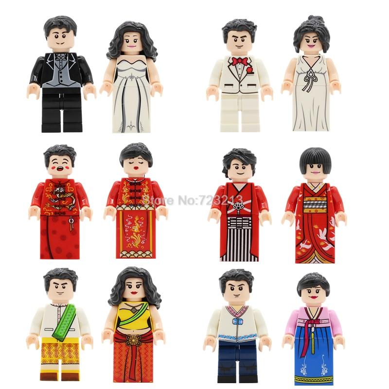 12pcs Wedding Dolls Couple Figure Set Western Eastern Indian Japanese Chinese Model Building Blocks Kits Brick Toys Legoing