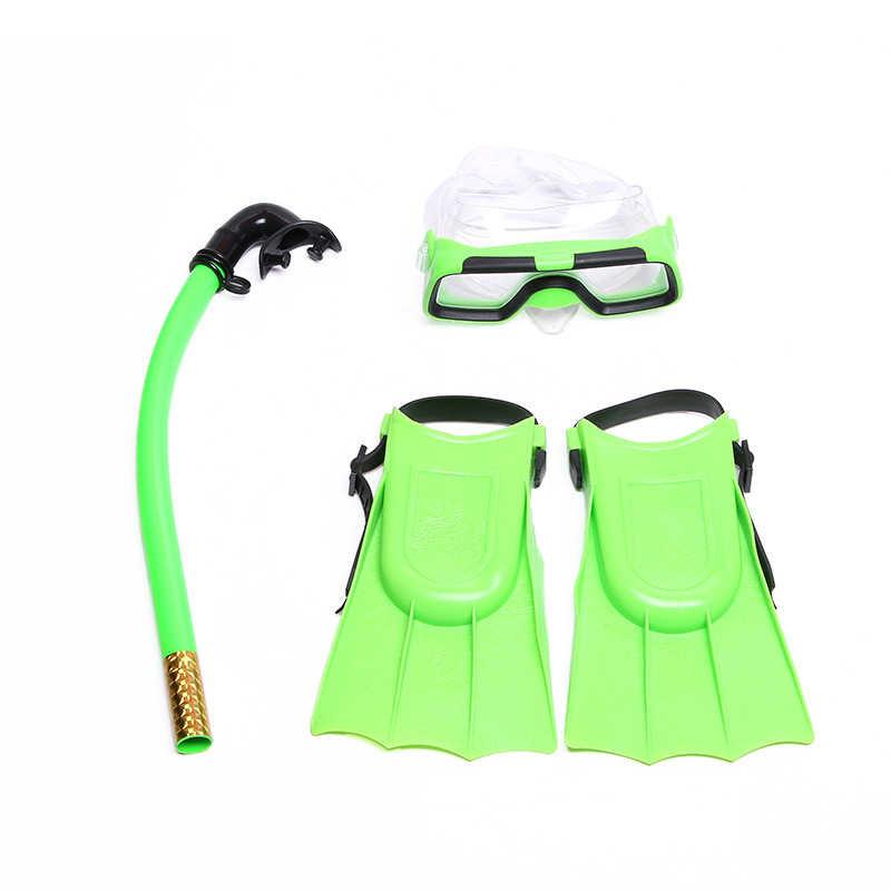 3 adet yüzme Set silikon şnorkel maskesi dalış sualtı tüplü maskeleri çocuk şnorkel dalış yüzgeçleri seti çocuklar dalış ekipmanları