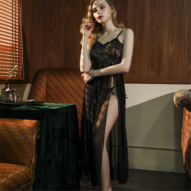 섹시한 레이스 잠옷 여성용 로브 울트라 얇은 조정 스트랩 속옷 란제리 투명 유혹 잠옷 가운 딥 브이