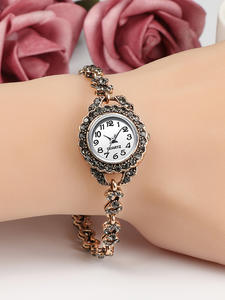 Vintage Watch Bracelet Charm Crystal Gold Femm Women Ethnic Antique Quartz Montre Link