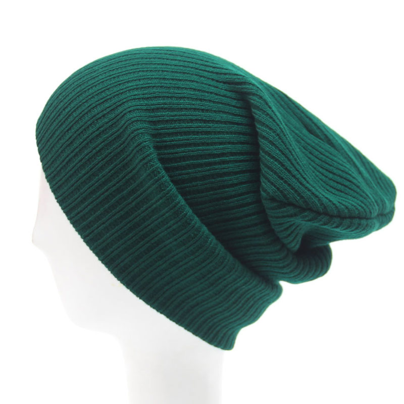 Stretchy Plain Knitted Hat Women Beanies Solid Skull Cap Winter Keep Warm Dark Green Grey Blue Black