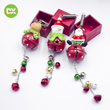 New Christmas Festive Party Decoration Wrought Iron Bell Pendant Cartoon Santa Snowman Tree String Ornaments