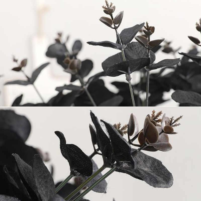 Đen Nhân Tạo Hoa Lá Bạch Đàn Thực Vật Treo Tường Chất Liệu Trang Trí Sống Động Như Thật Giả Thực Vật Cho Nhà Hàng Tiệc Sân Vườn Trang Trí