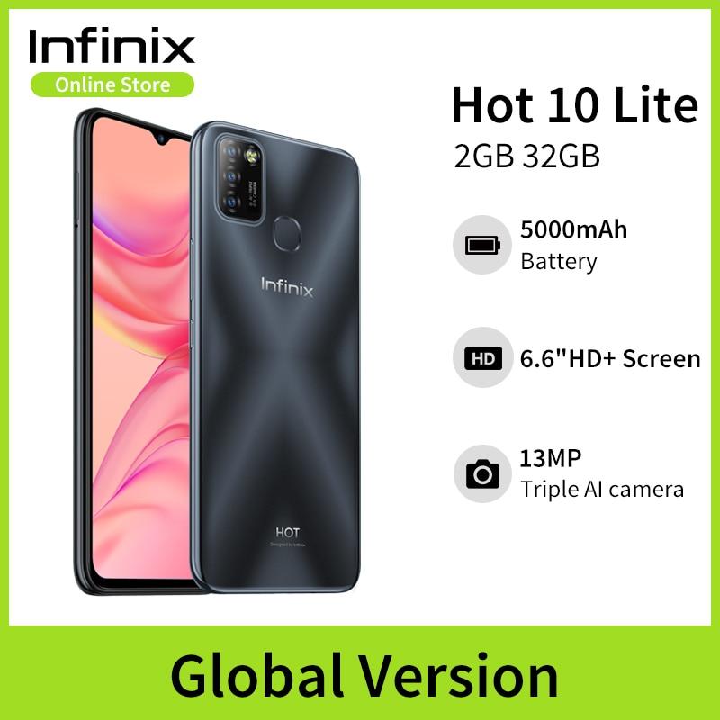 Versão global Infinix Hot 10 Lite 2GB 32GB Celular 6.6HD 1600 * 720P Bateria 5000mAh Câmera 13MP Helio A20