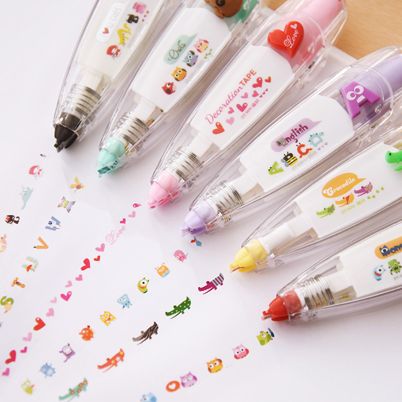 Cartoon Floral Sticker Tape Pen Funny Kids Stationery Notebook Diary Decoration Tapes Label Sticker Paper Decor for Children Toy