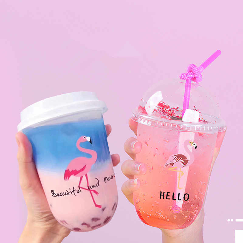 Disposable fat u-shaped pattern creative transparent milk tea plastic cup coffee drink juice beverage packaging cups with lid
