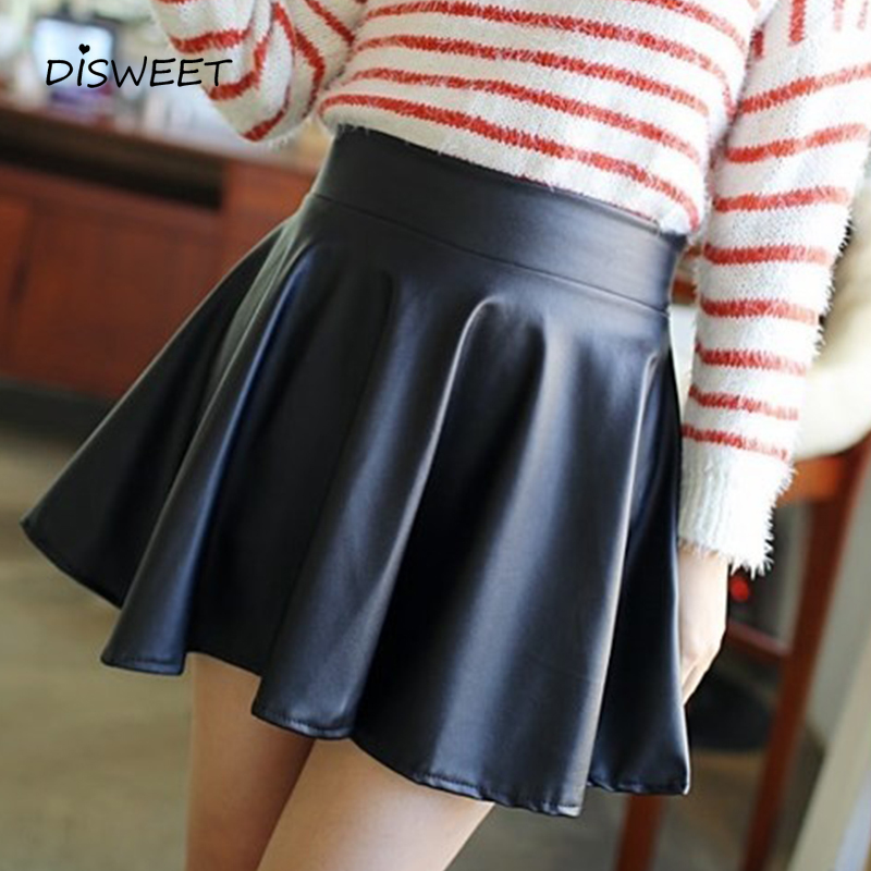 Simple Faux Leather Skirt Ladies Fashion High Waist Slim Black Skirt Woman New Casual Solid Color High Quality Skirt Women 2019