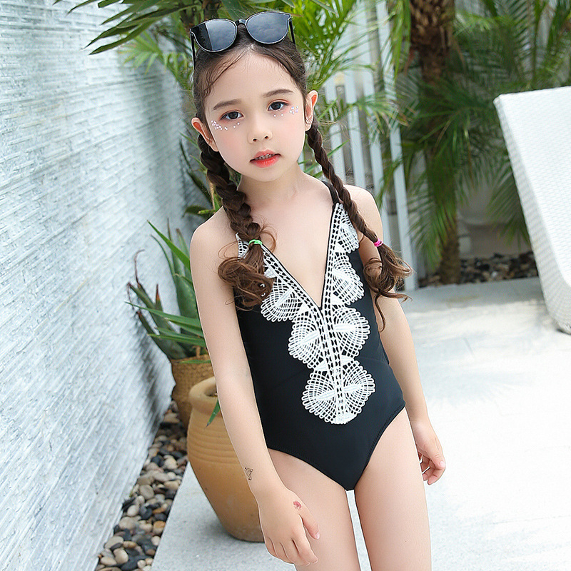 KID'S Swimwear GIRL'S Sexy Backless Europe And America Big Boy South Korea Girls One-piece Swimming Suit