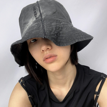 HYEIN SEO 21SS Spring/Summer Washed Grey Embroidered LOGO Canvas Wide-brim Fisherman Hat