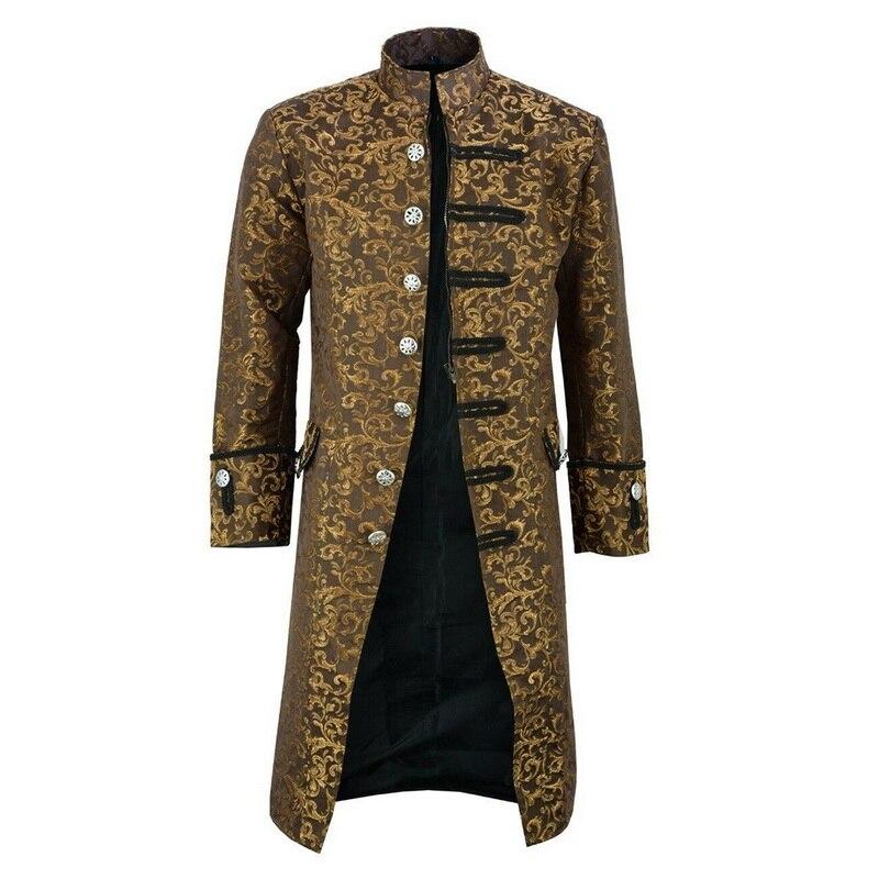 HEFLASHOR Men Edwardian Steampunk Trench Coat Frock Outwear Vintage Overcoat Medieval Jacket Cosplay Costume Innrech Market.com