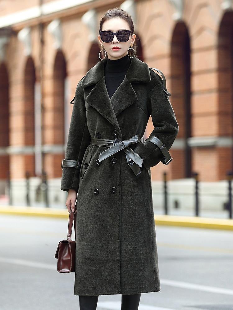 Coat Fur Real Winter Coat Women 100% Wool Coat Female Sheep Shearling Fur Jacket Women Clothes 2020 Manteau Femme MY4585