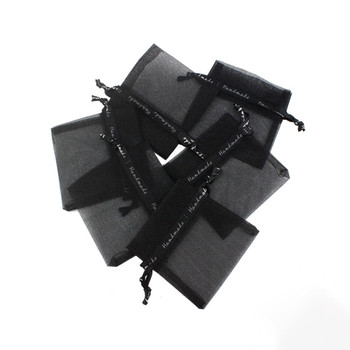 Black Organza Bag Small Wedding Charms Jewelry Packaging Bags Organza Drawstring Pouch Gift Bag