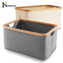 Konco корзина для белья с ручкой складная сумка для хранения белья складная ткань Органайзер для ванной грязное ведро из ткани