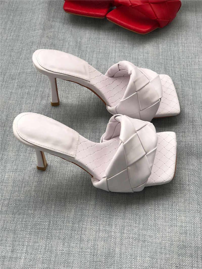 בציר כיכר הבוהן נשים כתום לחצות לסרוג עקבים גבוהים משמש לארוג Sandalias קיץ נעלי גדול גודל 43 שקופיות