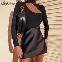 Hugcitar 2019 long sleeve hole sexy bodysuit autumn winter women streetwear bodycon slim club outfits -