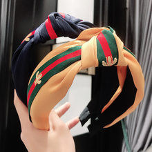 Striped Women Ribbon Hairbands Wide Knotted Headband Ladies Hairband Women Hair Accessories Satin Headband Adults Hair Hoop Bees(China)