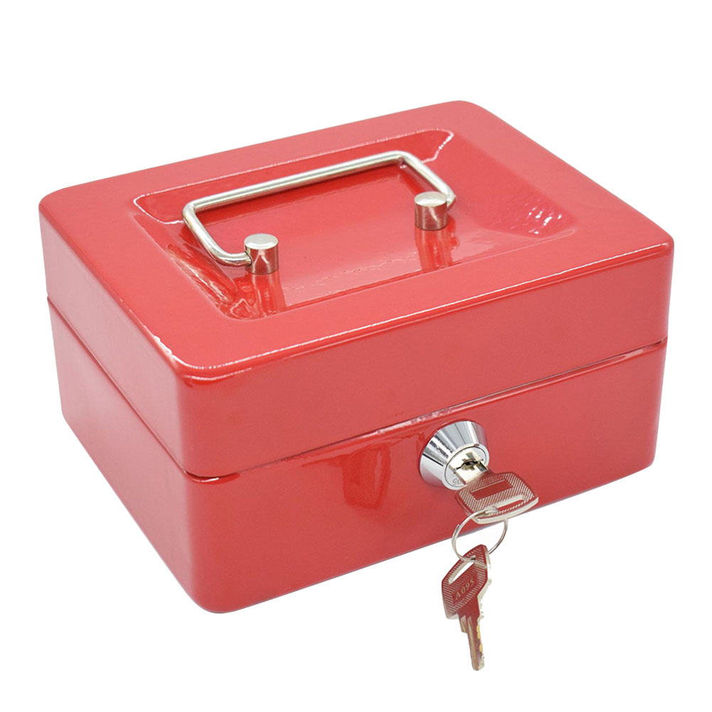 Jewelry Small Money Lock Key Safe Box Storage Organizer Portable Metal Security Carrying Fire Proof Wear Resistant Home