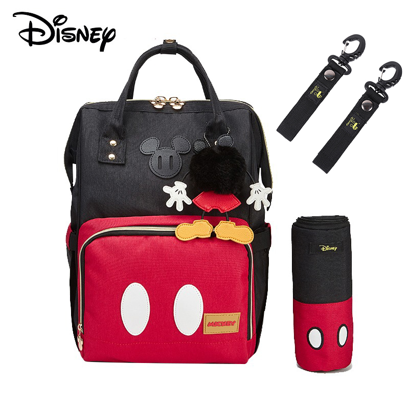 Disney Diaper Bags Minnie Mickey Classic Style Mummy Bag Maternity Nappy Bag Large Capacity Baby Bag Travel Backpack Free Pouch