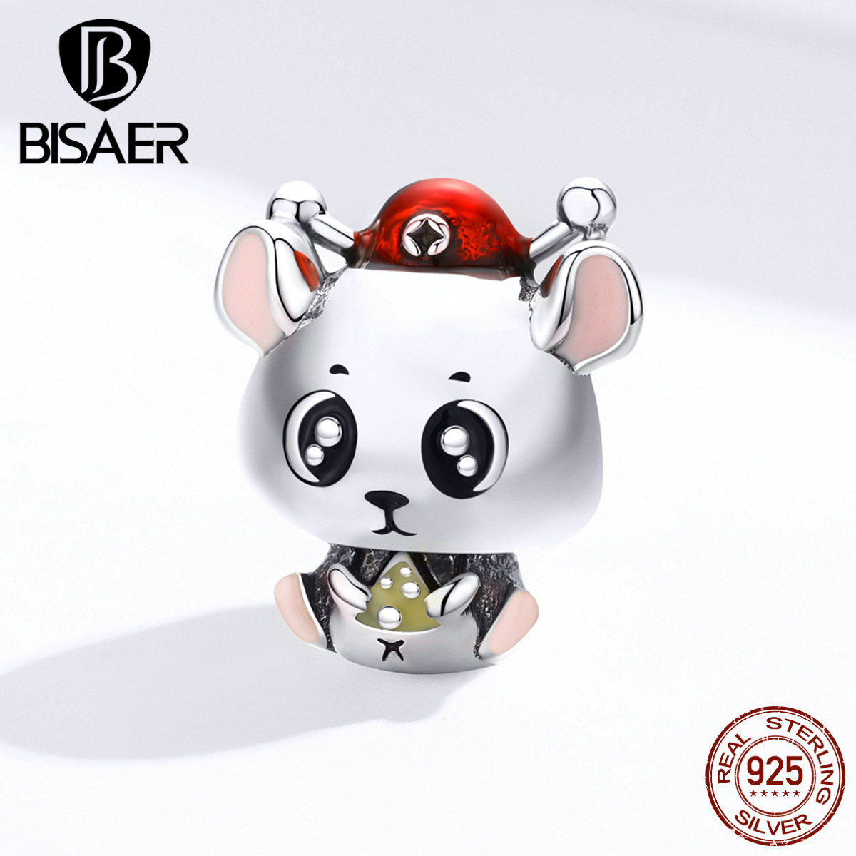 Mouse Beads BISAER925 Sterling Silver Little Mouse Charms Beads fit for Women Bracelets Silver 925 Jewelry Making EFC113(China)