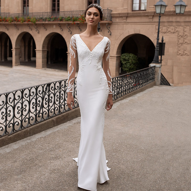 Eightree Long Sleeves Wedding Dresses Mermaid Appliques Turkey Bride Dress Robe De Soiree Long V Backless Wedding Gowns