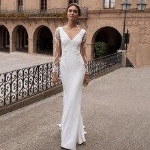 Eightree de manga larga vestidos de novia sirena apliques pavo vestido de novia vestido de noche V largo sin espalda vestidos de novia