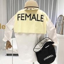 Blouse 2019 Women Designer Blouses Streetwear Letter Spliced Turn-down Collar Moda Mujer Ropa Loose