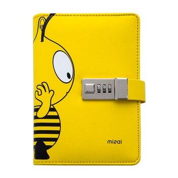 цена Kawai A6 Diary Planner Password Lock Bee Spiral Notebook Lockable PU Notepad Traveler Journal DIY Agenda School Stationery Gift онлайн в 2017 году