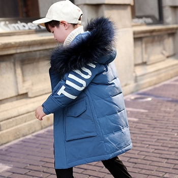 Children Winter Parka 90% White Duck Down Jackets Boys Clothing Large Fur Hooded Jacket For Boys Snow Wear TZ461