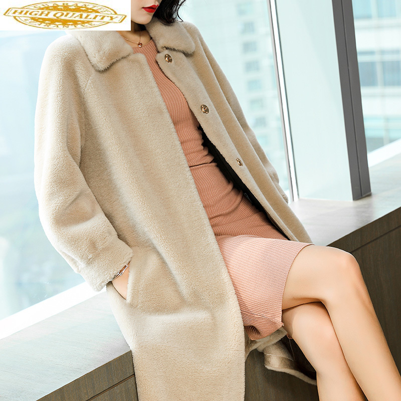 Women Real Wool Fur Coat With Natural Mink Fur Collar Long Warm Winter Jacket Women Sheep Shearing Coats 2020 JDX18D012