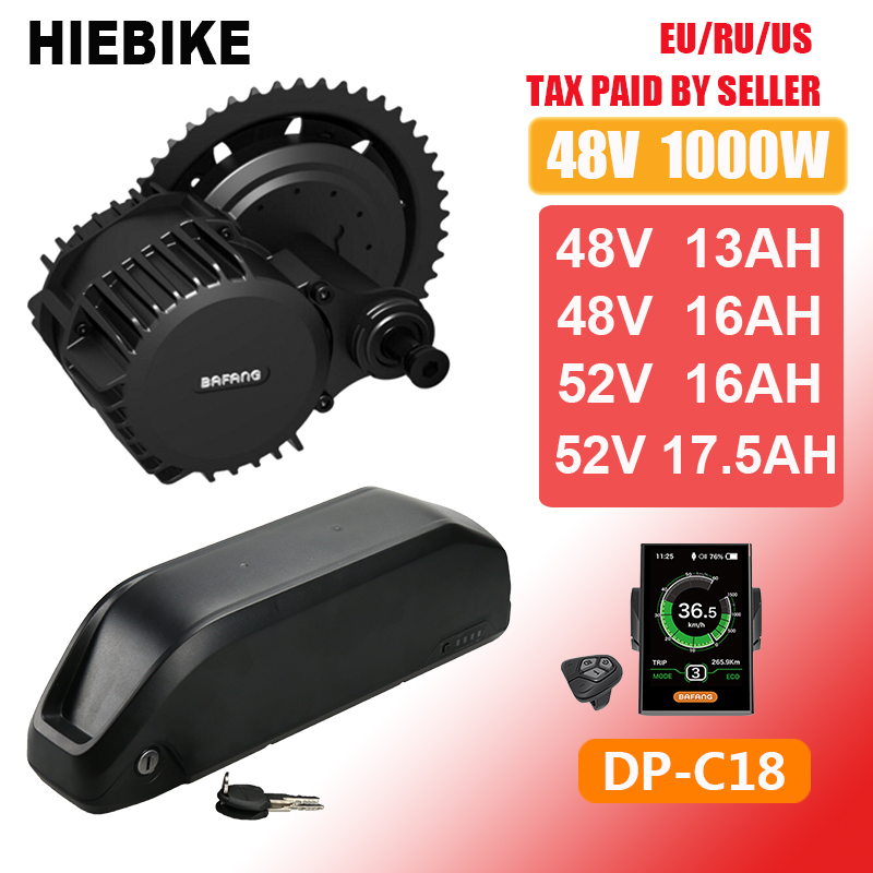 48v 1000w Bafang Motor BBSHD BBS03B Electric Bicycle Conversion Kit with Battery 48V 13/16AH 52v 16/17.5ah Ebike Mid Drive Motor image