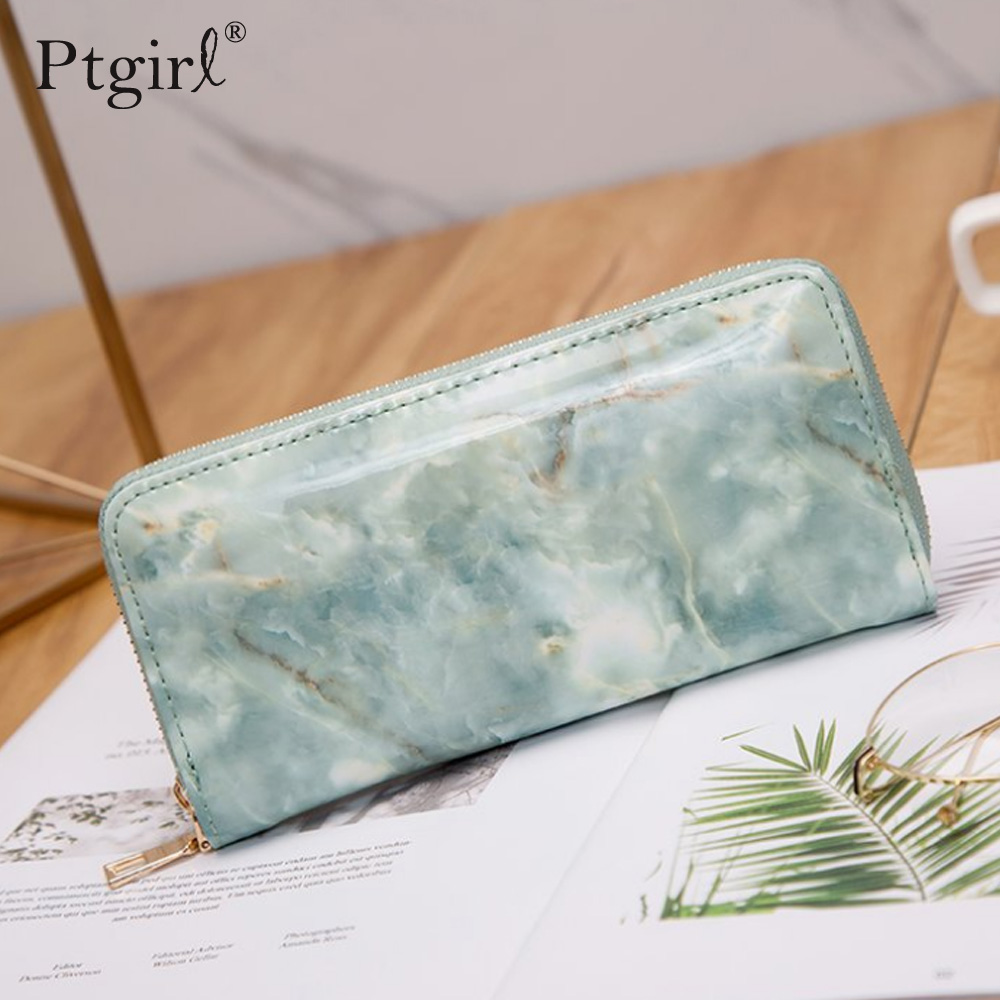 Casual Women Lady Wallets Purses Totes Feminina Marble Patent Leather Clutch Bag Ptgirl Women Wallets Moda Mujer 2019 Portomonee