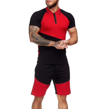 Summer Fashion Mens Shorts Sets 2021 Casual Color Matching Short Sleeved 2 Piece Set Running Sports Fitness Tracksuit Men 6
