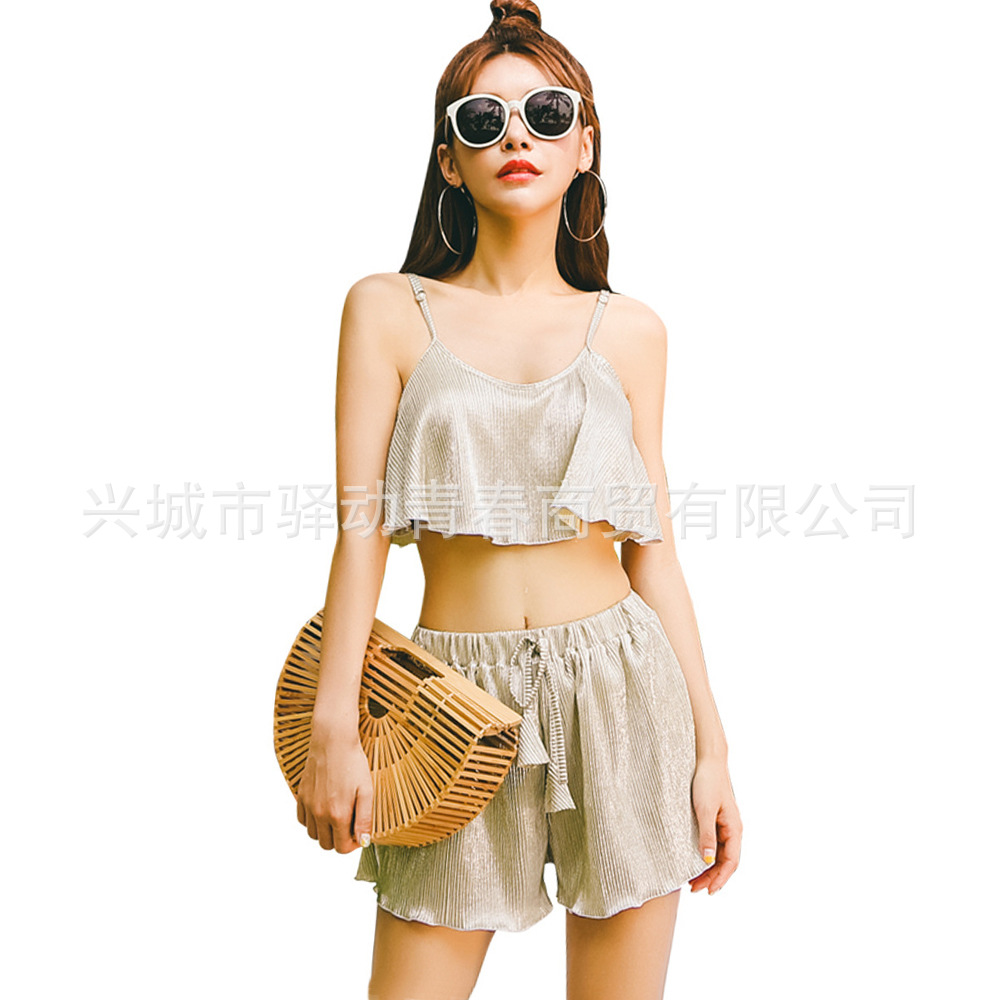 South Korea New Style WOMEN'S Swimsuit Three-piece Set Graceful Flounced Camisole Tube Top Bikini Solid Color Underwire Swimwear