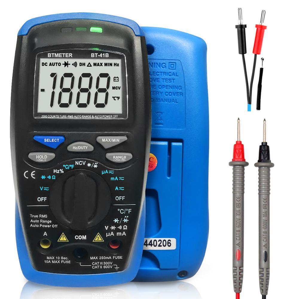 Btmeter BT-41B multímetro digital trms 6000 contagens ac/dc atual, tensão, ohm, capacitância, temperatura, medidor de testador ncv