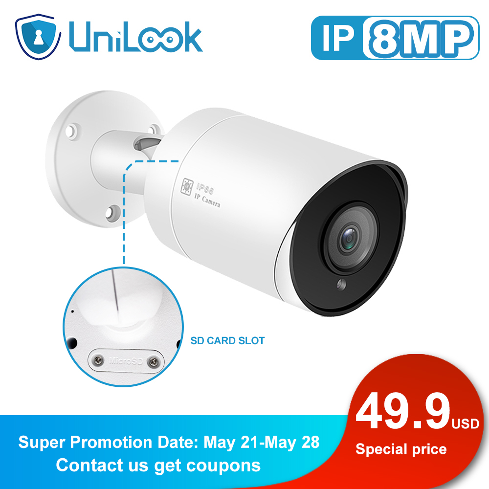 Unilook 8MP 4K IP Camera POE Outdoor Waterproof Audio CCTV Bullet Camera SD Card Slot Motion Detection ONVIF For PoE NVR 48V