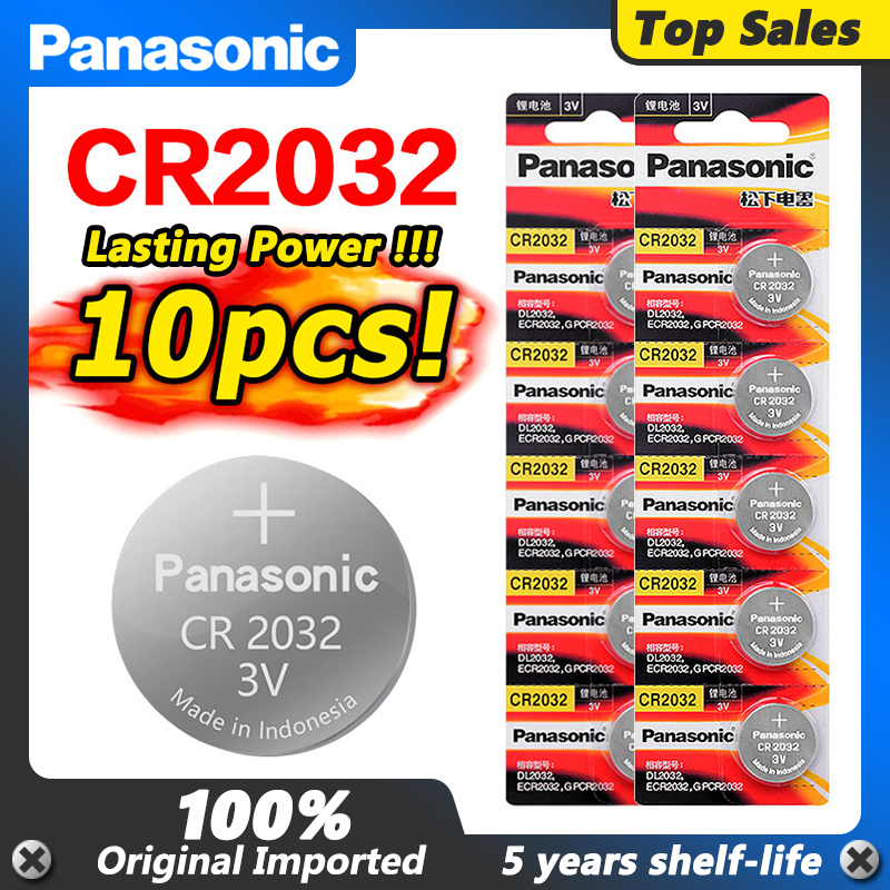 10pcs new battery for PANASONIC cr2032 3v button cell coin batteries for watch computer cr 2032 ECR2032 For Toys Watches(China)
