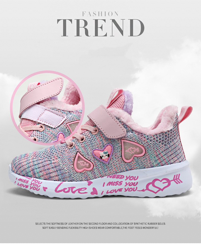 Children Mesh Casual Shoes Girl Sneakers Kids Banner Sport Footwear Kids Shoes for Girl Light Shoes Cute Pink Flat Shoes Winter