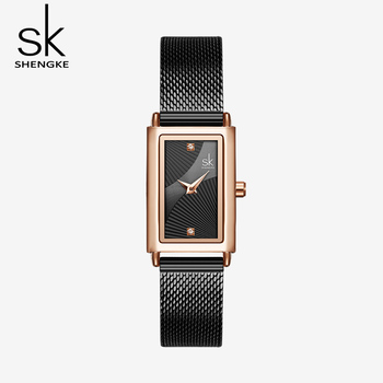 цена на Shengke Women Watches Fashion Geneva Designer Ladies Watch Luxury Brand Rectangle Quartz Gold Wrist Watch Luxury Gifts For Women