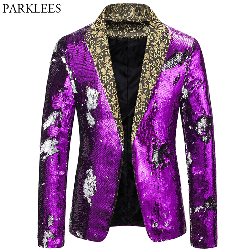 Shiny Sequin Mens Blazer Purple Blazers Men Dazzling Night Club Dance Men Suit Jacket Stage Costumes For Singers Mens Masculino