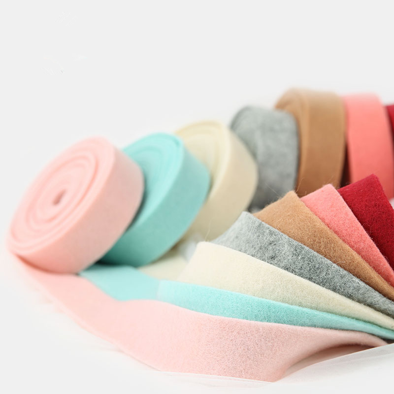 5Meter 3/4/5CM Wool Felt Webbing Belt For Christmas Tree Gift Bow Wreaths Ribbon DIY Crafts Patchwork Appliques Sewing Materials