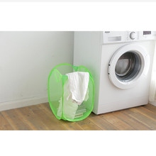 Dirty clothes storage rack foldable fine net dirty basket receives blue big house