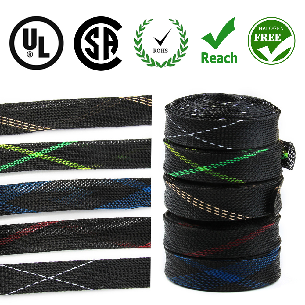 Dropship 1/5/10/50/M Black Insulated Braid Sleeving 2/4/6/8/10/12/15/20/25mm Tight PET Wire Cable Gland Protection Cable Sleeve