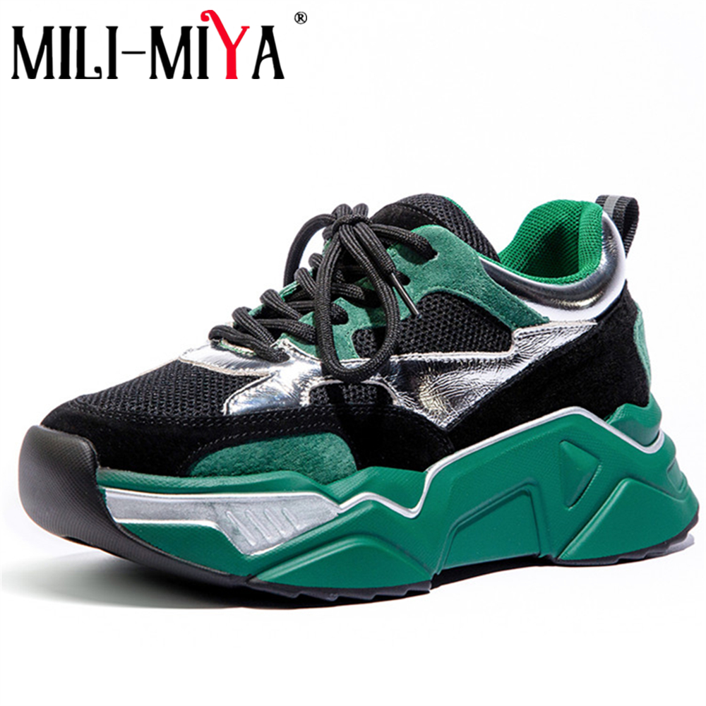 MILI-MIYA New Fashion Spring Autumn Breathable Casual Sneakers Cow Leather Mesh Basic Women Flats Comfortable Shoes Plus Size 40