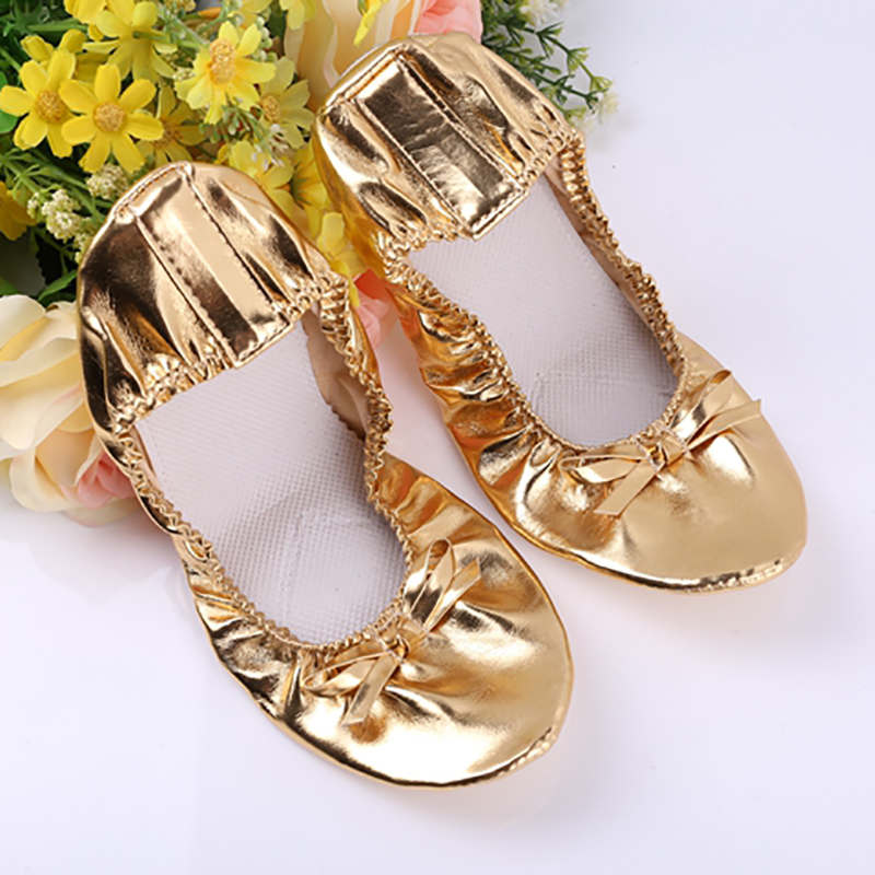 USHINE EU27-41 Golden Leather Yoga Slippers Teacher Gym Indoor Exercise Belly Ballet Dance Shoes Children Kids Girls Woman