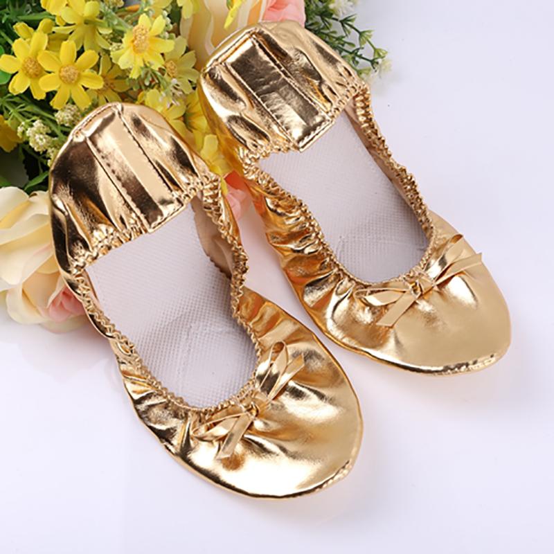 USHINE EU27 41 golden leather yoga slippers teacher gym indoor exercise belly ballet dance shoes children kids girls woman