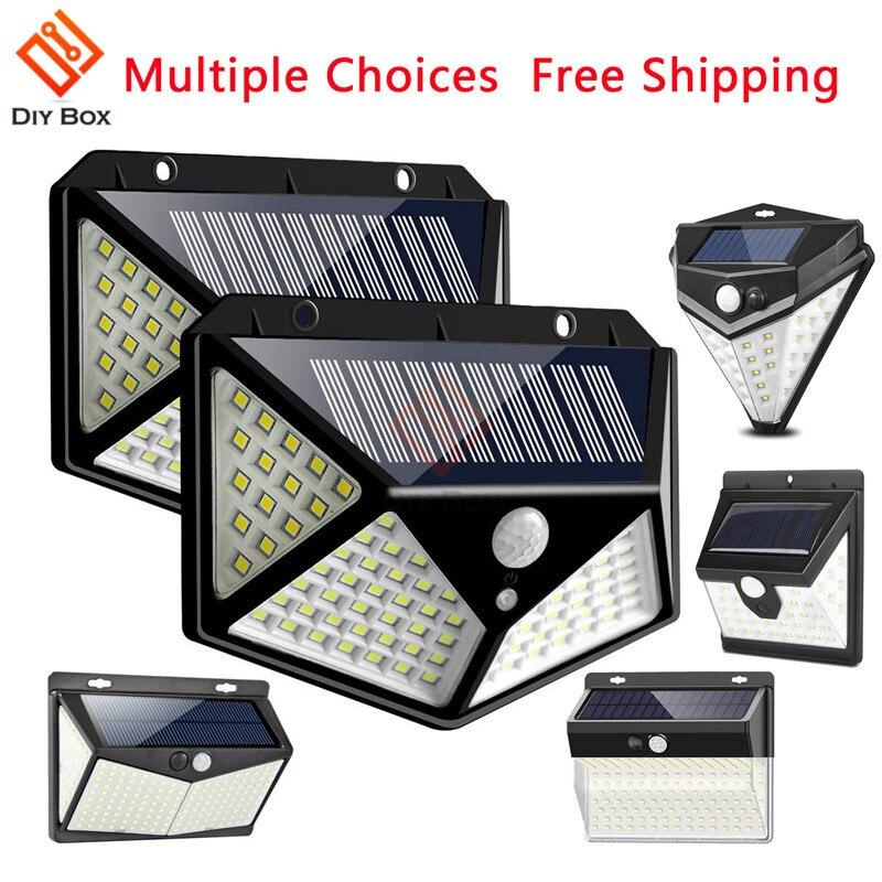 100LED Solar Light Outdoor Solar Lamp PIR Motion Sensor Wall Light Waterproof Solar Lamp 2835 4-Side LED Light For Garden Yard